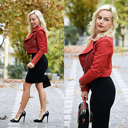 Eleonora Petrella - Ventifive Red Biker Jacket, Ventifive Black Midi Skirt - Happy Birthday Ventifive.com! -40% on all the clothes!