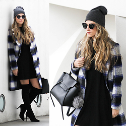 Cassandra DiMicco - Forever 21 Plaid Coat, Grey Beanie, Joie Over The Knee Boots, Celine Beltbag - Plaid Coat