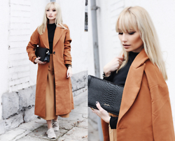 Chloe From The Woods - Sheinside Camel Long Sleeve Lapel Pockets Coat, Toms Sneakers, Simplee Apparel Brown Culotte Pants - CARAMEL WEEKDAYS