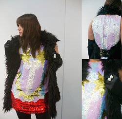 Be_beau Belzak - Versace For H&M Faux Fur Waistcoat, Louise Gray For Topshop Sequin Dress, H&M Ring - Looking for a perfect New Year's look outfit, part 1
