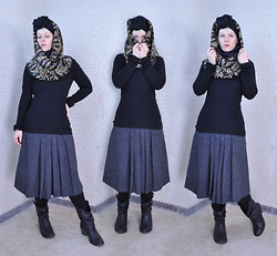 Suzi West - Merona Scarf, Mjsk Designs Infinity Scarf, Express Sweater, Vicky Sport Vintage Wool Skirt, Forever 21 Leggings, Mossimo Slouchy Cowboy Boot - 23 November 2015