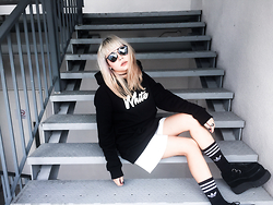 Jessica Grrl - White.Co Sweater, Adidas Socks, Tuk Double Stack Creepers, Dresslink Shades - Idea of Happiness