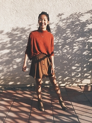 Kacie H. - H&M Fine Knit Turtleneck, Zara Mini Skirt, Free People Hybrid Heel Boot - Sweet Sun