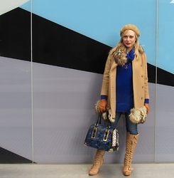 Kirsten Wendlandt - H&M Cobalt Sweater, Aldo Structured Bag, Naughty Monkey Camel Boots, J. Crew Necklage, H&M Gloves, 69 Vintage Camel Coat, H&M Camel Beret - Sweater Weather