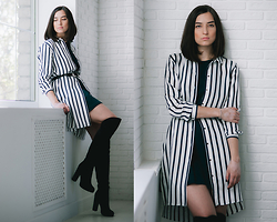 Irina Fedorova - Zara White Stripe Shirt, Zara Emerald Green Dress, Calipso Over The Knee Boots, Mango Leather Western Belt - First look with the white shirt