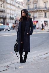 Rosa Pel - Zara Long Coat, Long Dress, Office Thigh High Boots Heels - Thigh high boots with elegance