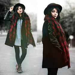 KENDALL SANCHÈZ - Black Felt Hat, Oversized Tartan Scarf, Romwe Quilted Jacket, Casual Striped Shirt, Black Leggings, Target Cherry Red Boots - .True Affection.