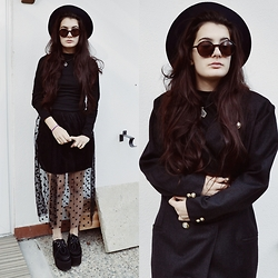 Anna Garavello - Thrifted Hat, Pimkie Round Sunglasses, Accessorize Crystal Pendant, Handmade Wool Coat, Whole Sale 7 Lond Sleeves Dress, Whole Sale 7 Polka Dots Skirt, Essexglam Triple Sole Creepers - Polka Dots