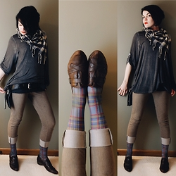 Whitney George - Dorking Brown Slip On Pointed Toe Flats, London Legware Light Blue & Red Plaid Knee Highs, Uniqlo Heathered Khaki Pants, Beacons Closet Navy & Cream Plaid Scarf, Renegade Icon Black Leather Utility Belt, Unknown Oversized Gray Cotton Shirt, H&M Basic Dark Gray Tank - Stemmed