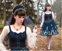 Tyler H - Lily Of The Valley French Hood, Lily Of The Valley Navy Veil, Lily Of The Valley Regal Necklace, Handmade Princess Blouse, Lily Of The Valley Regal Waist Chain, Ebay Cream Stockings, Hotter Gold Heels, Lily Of The Valley Forest Unicorn Redux Jsk - Unicorn Queen