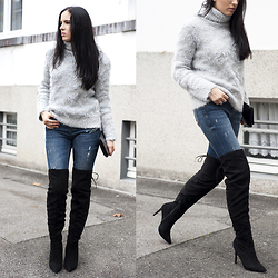 The Day Dreamings - Primark Overknees Boots, Zara Sweater, Zara Ripped Jeans, H&M Clutch - Overknees Season