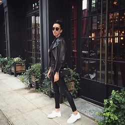 Claudia Salinas - J Brand Leather Pants, Chanel Boy Bag, Acne Studios Leather Jacket, Christian Dior Sunnies, Doctor Martens Creepers, Assembly New York Sleeveless Top - All black almost