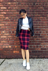 Yuanyuan Deng - All Saints Leather Jacket - Leather and plaid