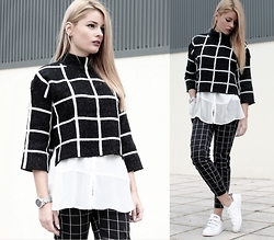 Cátia Sousa - Diamonds Online Store Sweater, H&M Hm Grid Pants, Adidas Stan Smith, Michael Kors Bradshaw Whatch - THE GRID