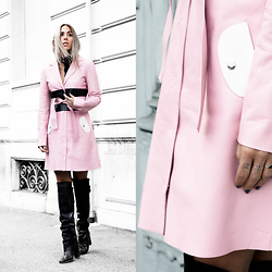 Alison Liaudat - Longchamp Leather Trench Coat, H&M Studio Ss14 Over The Knee Boots - In the pink.