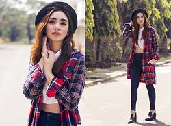 Aileen Belmonte - Uniqlo Flannel Coat/Dress, Choies Cropped Collared Top, Topshop Jamie Jeans, Charles & Keith Boots - Flannel Hipster