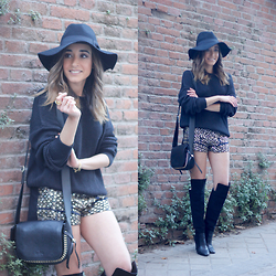 Besugarandspice FV - Pull & Bear Shorts, Pull & Bear Sweater, Parfois Hat, Coach Bag - EMBROIDERED SHORTS