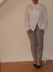 Selina M - Swapped Frilled Shirt, Self Made Checked Trousers - Yes butler