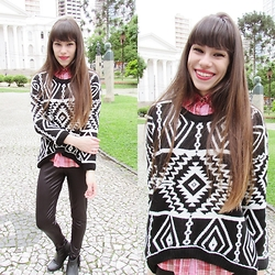 Valéria Przysbeczyski - Dresslink Sweater, Gift Of My Best Friend Plaid Shirt, Clube Vest Legging, Beira Rio Boots - Sweater Weather