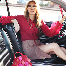 Alyssa Casares - Alyssa Nicole Red Blouse, Alyssa Nicole Aline Skirt, Chloé Sunglasses, Kate Spade Purse - On The Road