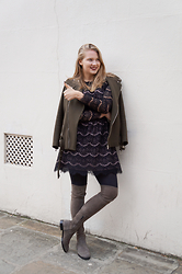 IIDA H - Style Butler Black Lace Dress, &Other Stories Grey Suede Over The Knee Boots, Zara Khaki Biker Jacket - // Black Lace Dress