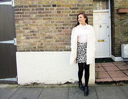 Lauren Rose Bell - Topshop Fur Coat, River Island Cream Roll Neck, New Look Leopard Print Skirt - Winter Whites