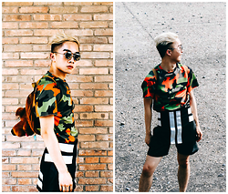 Jocelyn Yih - Zara Top, Givenchy Apron, Scooby Doo Backpack, Leather Shorts - Casual Camouflage in Beijing