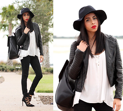 Karla Quinones - Billabong Night Moves Jacket, Forever21 White Top, Zara Ripped Jeans, Zara Backpack, Zara Lace Up Heels - Black & White