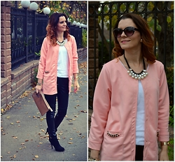 Butterfly Petty - Cndirect Blazer, Style Moi Leather Pants, Carpisa Bag, Pull & Bear Boots - Pink mood
