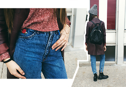 Katya Taylor - Uniqlo Gray Hat, Forever 21 Black Leather Backpack, Zara Burgundy Leather Jacket, Unknown High Waist Jeans, Mark & Spencer Shirt, Dr. Martens Black Boots Flora - ✖ BURGUNDY LEATHER ✖