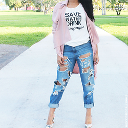 Lynnette Joselly -  -  Aimee Song Inspired: Pink Blazer and Boyfriend Jeans