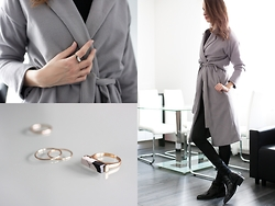 Lorietta.cz - Zaful Grey Coat, Zaful Marble Ring, Zara Pointed Flat Ankle Boots - Long Coat