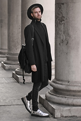 Geraint Donovan-Bowen - Topman Fedora, H&M Roll Neck, River Island Duster Coat, Rokit Backpack, Open Jeans, Underground Shoes - His Name Is Glimmer