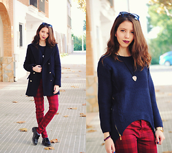 Ana Mª Aranda - Stradivarius Blue Coat, Cndirect Blue Sweater, Zara Tartan Pants - Hello December!