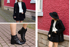 Patty . - H&M Coat, Miss Selfridge Button Down Skirt, Asos Boots - BLACK AND GRAY