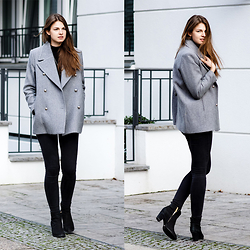 Jacky - Mango Coat, Gina Tricot Jeans, Buffalo Booties - The perfect grey coat