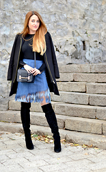 Martina Manolcheva - Puppa Fashion Skirt, H&M Coat, Zara Sveater - Denim Fringe Skirt