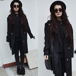 Anna Garavello - Pimkie Round Sunglasses, H&M Wool Hat, Accessorize Crystal Pendant, Thrifted Coat, Thrifted Pullover, H&M Skinny High Waist Trousers, Black Shoulder Bag, Essexglam Triple Sole Creepers - Black! Yes, black always.