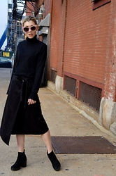 Dani Mikaela McGowan - Gap Black Turtleneck, Nordstrom Suede Wrap Skirt, Topshop Chelsea Boots - The Staples