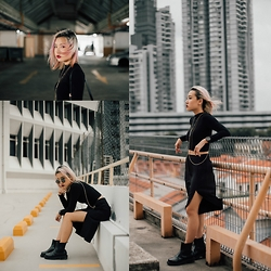 Sebelle Sharmine - Element 7 Style Bodychain, Solestruck Chelsea Boots, Younghungryfree Slit Culottes, H&M Black Highneck Top, Christian Paul Black Marble Watch, Ray Ban Circle Shades - Fly, Little Black Bird