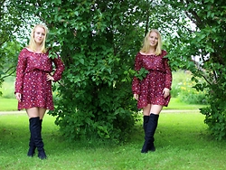 Frida Hagström - Shein Burgundy Floral Dress, H&M Over The Knee Boots - Last look of summer
