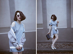 Ama Hatheway - White Retro Cateye Sunglasses, Grey Butterfly Sleeve Off The Shoulder Dress, Black Faux Leather Clutch Side Body Bag Satchel, C/Meo Collective Grey Honeycomb Mesh Tribute Bomber Jacket - Two Major Ways to Make Grey Outfits Shine