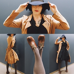 Whitney George - H&M Navy Felt Hat With Black Ribbon, Bevel Brown Oxford Heels With Olive Green Shoe Laces, Allsaints Asymmetrical Deep Green Cotton Dress, H&M Black Fitted Vest, Handmade Deep Khaki Duster, American Apparel Black Crinoline, Grey Houndstooth Kneehighs - Gumshoe