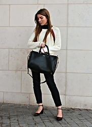 Angharad Jones - Asos Roll Neck, Asos Jumper, Sandqvist Bag, Asos Jeans, New Look Shoes - Layered Knits