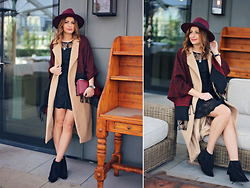 Elena Sandor - Lulu Dress, Missguided Coat, Missguided Hat, Arezzo Boots, Russel And Bromley Bag - Boho-chic meets tassels and fedora