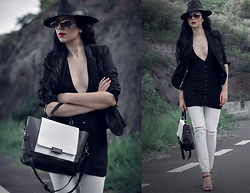 Ivana S - Black And White Tote Handbag, Black Fedora Hat - Proportions