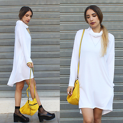 Karen Or - Neta Efrati White Turtleneck Dress, Cos Platform Loafers - White Turtleneck Dress