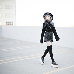 Essy Noir - Show Poni More Than Words Wide Brim Hat, Some Days Lovin Flare Sleeve Turtleneck, Creepyyeha Leather Bra Frame Harness, Purrr La Grid Pattern Skort, American Apparel Thigh High Socks, Jeffrey Campbell Shoes Rockwood Platforms - Some Days