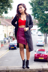 Suzi Shrestha - Missguided Skirt, Forever21 Coat, Asos Boots, Sheinside Bralet - Shades of Red