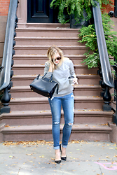 Ashley - Zady Alpaca Sweater, Rag & Bone Distressed Jeans, Christian Dior Perfect Black Heels, Clare V Sandrine Tote - Easy Like Sunday Morning